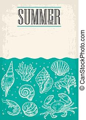 Concept of summer poster with sea shell, coral, crab and...