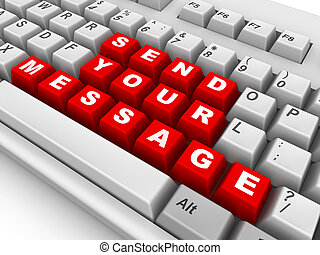 Keyboard. Send your message. 3d