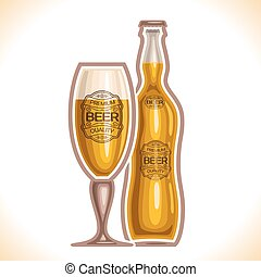 Glass cup and bottle beer - Vector logo for glass cup and...
