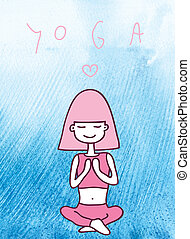 yoga - cute girl sitting in the pose of yoga, closing her...