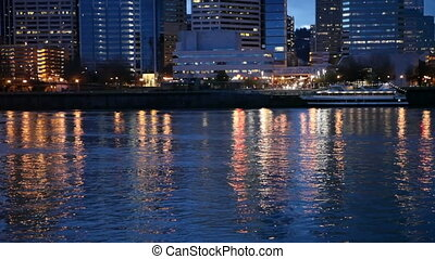 Downtown Portland and the Willamette River - View of...