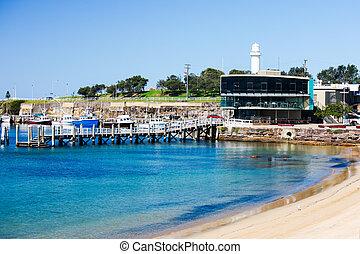 Wollongong Harbor, Australia - The shore at Wollongong...