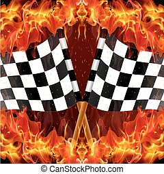 checkered racing flag on fire