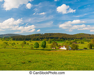 Rural landscape of Sumava - Green hilly rural landscape with...