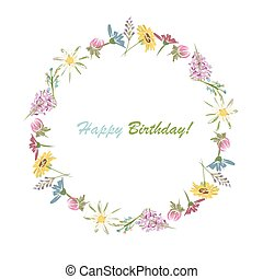 Floral wheath, circle frame for your design Vector...