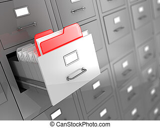 archive - 3d illustration of archive room background with...