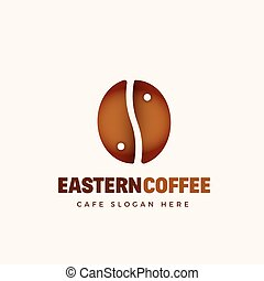 Eastern Coffee Abstract Vector Cafe Logo Template. Coffe Bean and Yin Yang Symbol Concept.