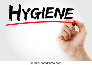 Hand writing Hygiene with marker, health concept background