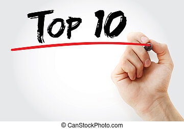 Hand writing Top 10 with marker, business concept background