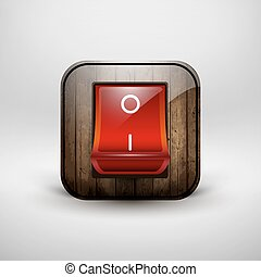 Switch with a shiny red button, contains wood texture. -...