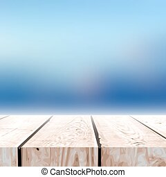 Fall blurred background with wooden table for your design. -...