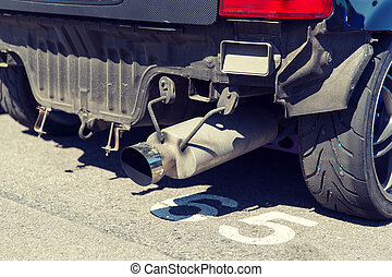 close up of truck exhaust pipe - transportation, freight...
