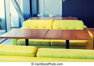 restaurant interior with table and sofas - design, public...