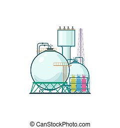 Industrial Plant Isolated on White Background, Refinery...