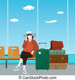 Airport , Waiting Room with Woman - Woman with Luggage...