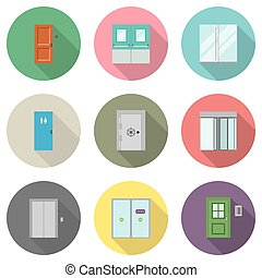 Door flat icons - Doors for different purposes in flat style...