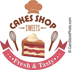 Strawberry cake retro badge for pastry shop design