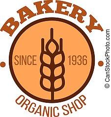 Organic bakery shop orange symbol with wheat