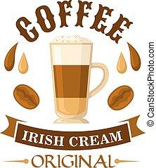 Irish cream coffee cocktail badge for menu design -...