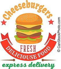 Cheeseburger round icon for fast food cafe design - Double...