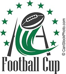 American football cup badge with ball and goalpost