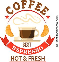 The best espresso in town badge for cafe design - Strong and...