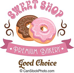 Donut shop retro icon design with glazed doughnuts