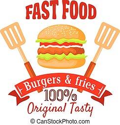 Burger shop or fast food cafe retro badge design - Burger...