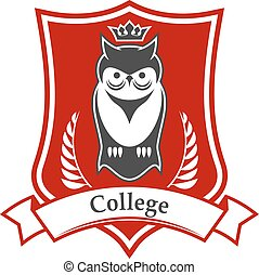 College heraldic sign with crowned owl on shield - College...