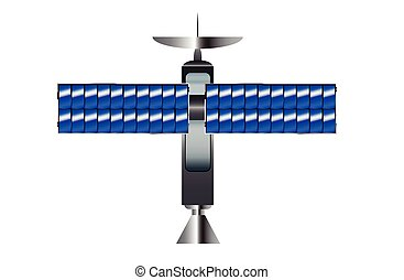 Satellite - A typical satellite with solar panel wings over...