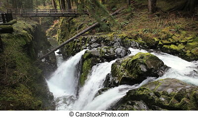 Sol Duc Falls - Bridge over the Sol Duc waterfall,...