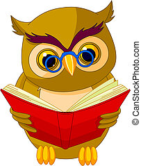 Wise Owl Cartoon - Fully editable vector illustration of a...