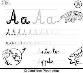 learn to write letter a