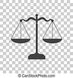 Scales balance sign Dark gray icon on transparent background...