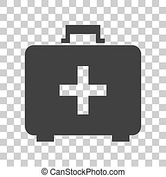 Medical First aid box sign. Dark gray icon on transparent background.