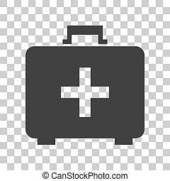 médico, primero, ayuda, caja, signo., Oscuridad,...