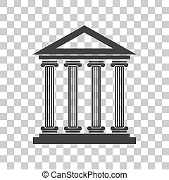 Historical building illustration. Dark gray icon on transparent background.