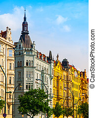 Masaryk embankment in Prague - Colorful houeses on Masaryk...