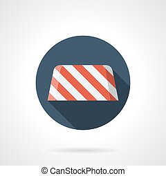 Road barrier round flat vector icon - Red and white striped...