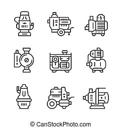 Set line icons of water pump isolated on white Vector...