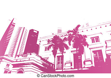 Purple Trendy and Modern City Life Abstract