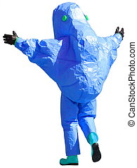 protective suit to manage hazardous materials - person with...