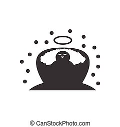 flat icon in black and white style newborn Jesus