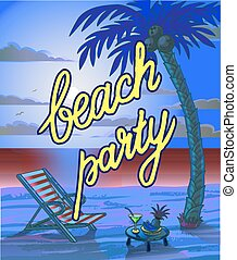 Summer Beach Lettring Party Flyer. - Summer Beach Lettering...