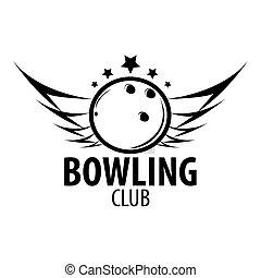 Bowling emblems, labels, badges and designed elements. Black...