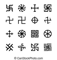 Swastika, cross and others symbols icons vector set