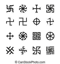 esvástica, cruz, y, otros, símbolos,