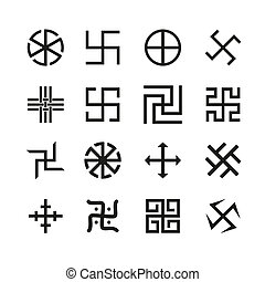 Swastika, cross and others symbols icons set