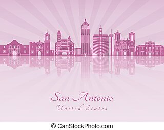 San Antonio skyline in purple radiant orchid in editable...