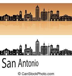 San Antonio skyline in orange background in editable vector...